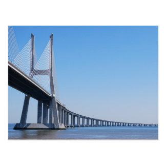 リスボンの川テーガス川上のヴァスコ・ダ・ガマ橋 ポストカード