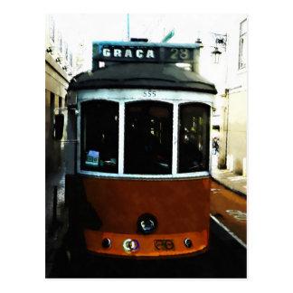 リスボンの市街電車のクローズアップ ポストカード