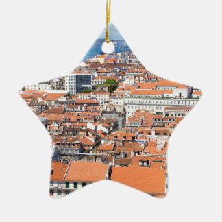 リスボン、ポルトガルの空中写真 セラミックオーナメント