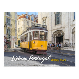 リスボン、ポルトガルの黄色い市街電車 ポストカード
