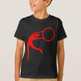 リズミカルな体操の姿-赤 Tシャツ