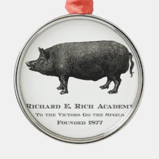 リチャード豊富なアカデミーのブタのロゴ メタルオーナメント