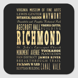 リッチモンド都市ヴァージニアならタイポグラフィの芸術 スクエアシール