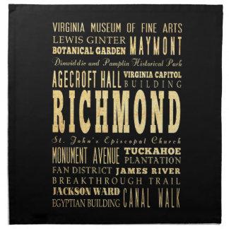 リッチモンド都市ヴァージニアならタイポグラフィの芸術 ナプキンクロス