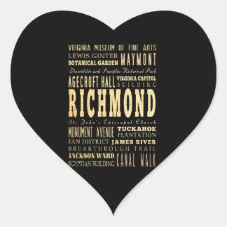 リッチモンド都市ヴァージニアならタイポグラフィの芸術 ハートシール