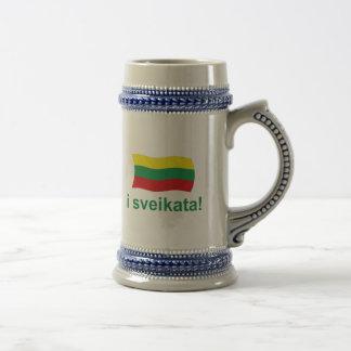 リトアニア人Iのsveikata! (応援!) ビールジョッキ