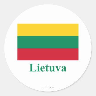 リトアニア語の名前のリスアニアの旗 ラウンドシール