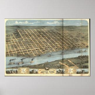 リトルロックのアーカンソー1871のパノラマ式の地図 ポスター