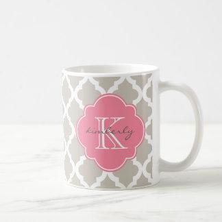リネンおよびピンクのモロッコのクローバーのプリント コーヒーマグカップ