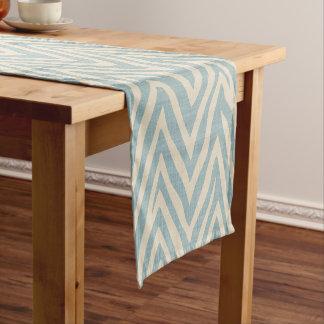 リネンベージュおよび青のシマウマのプリント ショートテーブルランナー
