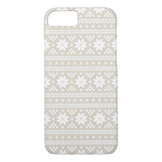 リネンベージュ公平な島のクリスマスのセーターパターン iPhone 8/7ケース