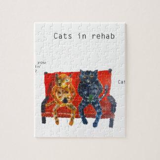リハビリテーションおもしろいな猫の芸術の猫 ジグソーパズル
