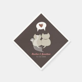 リハーサルのナプキンを結婚しているおもしろいな漫画猫 スタンダードカクテルナプキン