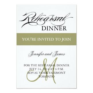 リハーサルの夕食の招待状の白い賢人のモノグラム カード