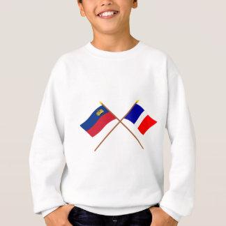 リヒテンシュタインおよびSchaanの交差させた旗 スウェットシャツ