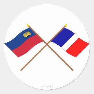 リヒテンシュタインおよびSchaanの交差させた旗 ラウンドシール