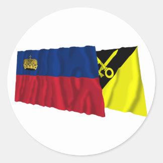 リヒテンシュタイン及びMaurenの振る旗 ラウンドシール