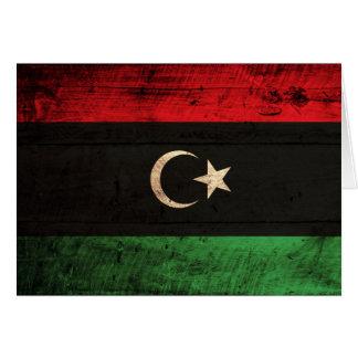 リビアの古い木の旗 カード