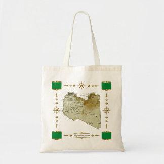 リビアの地図 + 旗のバッグ トートバッグ