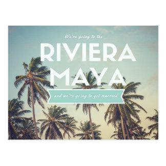 リビエラのマヤの熱帯ビーチの保存日付 ポストカード