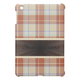リボンが付いているブラウンのオレンジタータンチェック iPad MINIケース