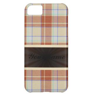 リボンが付いているブラウンのオレンジタータンチェック iPhone5Cケース