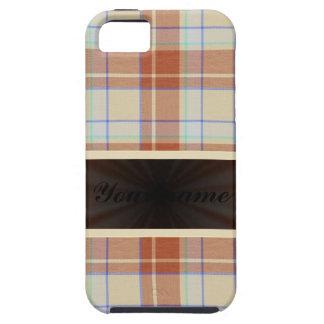 リボンが付いているブラウンのオレンジタータンチェック iPhone SE/5/5s ケース
