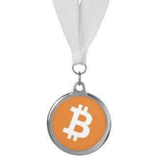 リボンが付いているBitcoinのロゴのお金の印メダル メダル