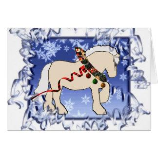 リボンのクリーム色のクリスマスカード カード
