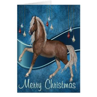 リボンのメリークリスマスカードが付いている青の馬 カード