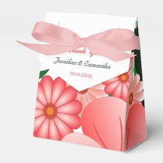 リボンの好意箱が付いている花のピンクのハイビスカスのテント フェイバーボックス