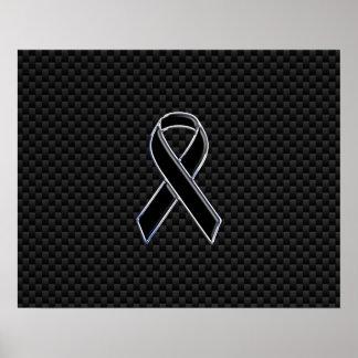 リボンの認識度の黒カーボン繊維 ポスター