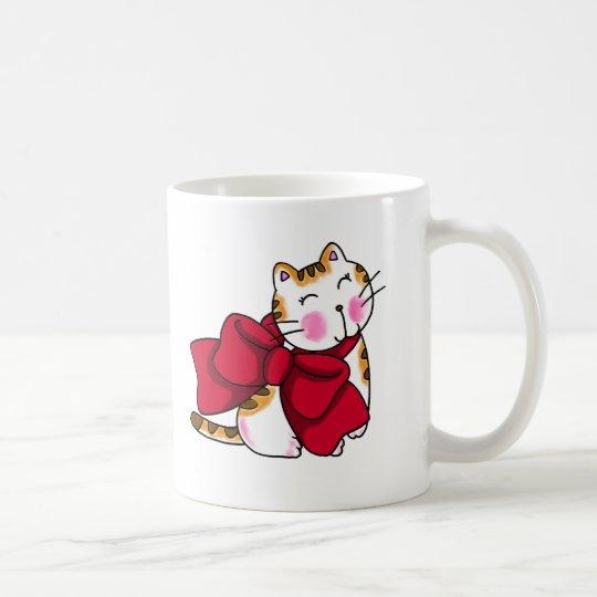 リボンをつけたネコのマグカップ コーヒーマグカップ