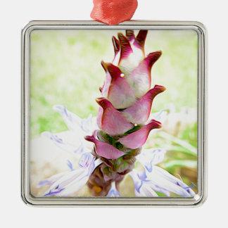 リボンを持つ正方形のオーナメント、花柄 メタルオーナメント