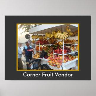 リマ、ペルーの角のフルーツの売り手 ポスター