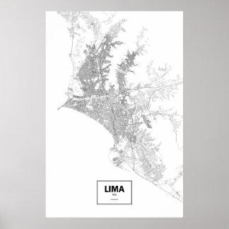 リマ、ペルー(白の黒) ポスター
