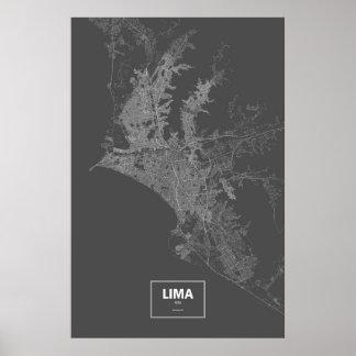 リマ、ペルー(黒で白い) ポスター