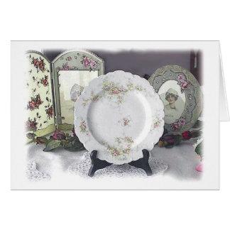 リモージュおよびピンクのバラ カード