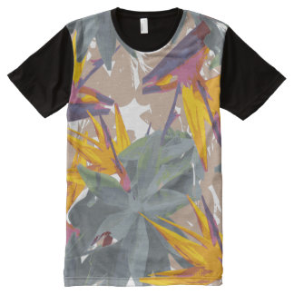 リュウゼツラン + 極楽鳥 オールオーバープリントT シャツ