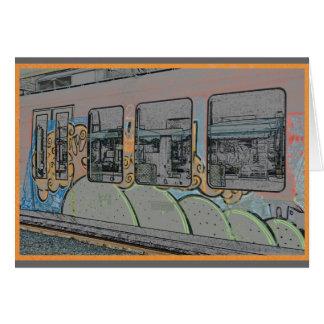 リュブヤナ、スロベニアの列車のカラフルな落書き カード