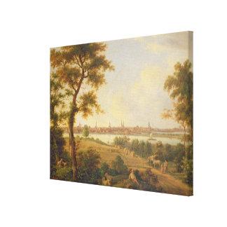 リューベック1869年の眺め(キャンバスの油) キャンバスプリント