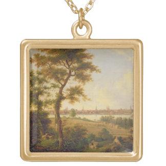リューベック1869年の眺め(キャンバスの油) ゴールドプレートネックレス