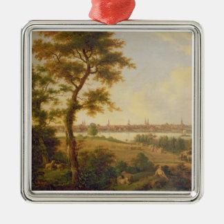 リューベック1869年の眺め(キャンバスの油) メタルオーナメント