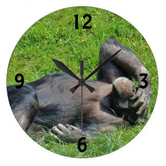 リラックスさせるなチンパンジー-柱時計 ラージ壁時計