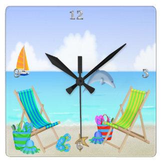 リラックスさせるなビーチの正方形の柱時計 スクエア壁時計