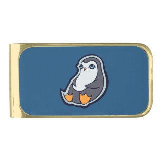 リラックスさせるなペンギンの甘く大きい目インクスケッチのデザイン ゴールド マネークリップ