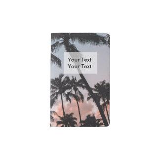 リラックスさせるな熱帯ヤシの木の日没 ポケットMoleskineノートブック