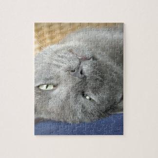 リラックスして下さい! 灰色ののどを鳴らす猫のジグソーパズル ジグソーパズル