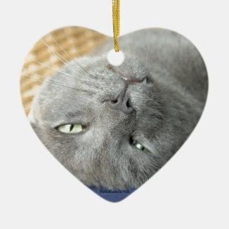リラックスして下さい! 灰色ののどを鳴らす猫の陶磁器のオーナメント セラミックオーナメント