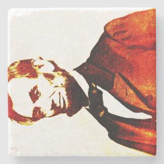 リンカーンのポップアートのColorizedの横のポートレート ストーンコースター